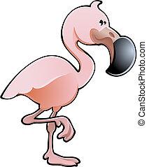 flamingo, illustration, cute, vektor, lyserød