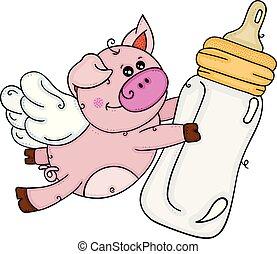 flaske, mælk, flyve, gris, baby, vinger, holde, cute