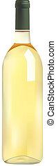 flaske, vin, hvid