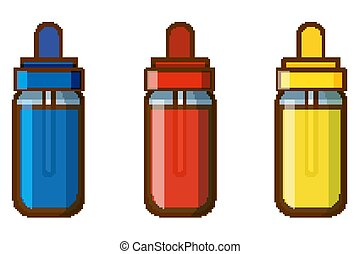 flasker, hvid, farver, baggrund, tre