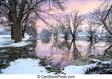 flod, vinter landskab, zagyva