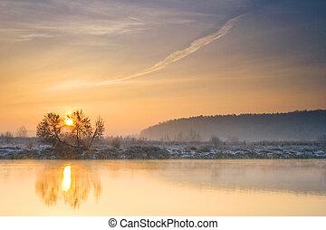 flod, vinter, solopgang, hen
