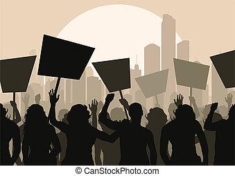 flok, vektor, protesters, baggrund
