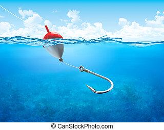 flyde, underwater, vertikal, krog, fiske linje