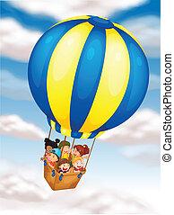 flyve, balloon, børn, hed luft