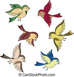 flyve, sæt, cartoon, fugl