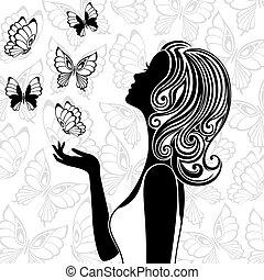 flyve, sommerfugle, kvinde, silhuet, unge