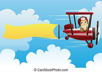 flyvemaskine, bær, banner