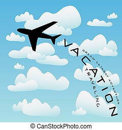 flyvemaskine, vektor, ferie færdes