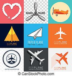 flyvemaskine, vektor, samling
