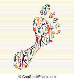 fod tryk, begreb, diversity, menneske