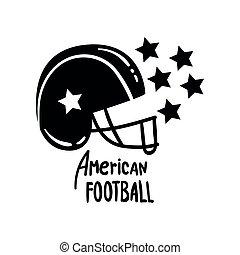 fodbold, illustration, element, amerikaner, vektor, konstruktion, retro, baggrund, hjælm, hvid, emblem, logo