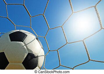 fodbold, stadion, sport, blå himmel, græs, soccer, grønnes felt