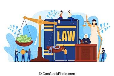 folk, begreb, illustration, dommer, vektor, sagførere, skalaer, retfærdighed, symbol, courtroom, lov