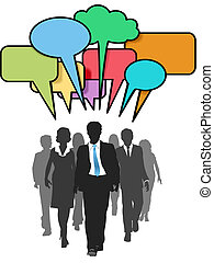 folk branche, farve, gang, sociale, bobler, samtalen