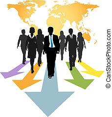folk branche, globale, pile, frem, fremmarch