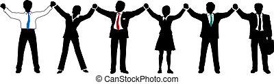 folk branche, hold, oppe, hænder, beklæde, greb