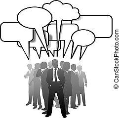 folk branche, kommunikere, tales, tale, bobler