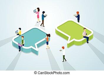 folk, flok, netværk, kommunikation, sociale, medier