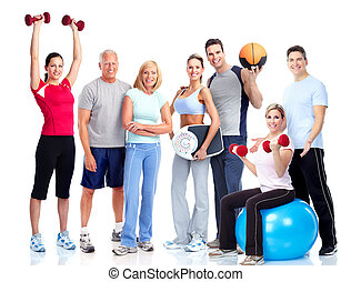 folk., gymnastiksal, fitness., smil