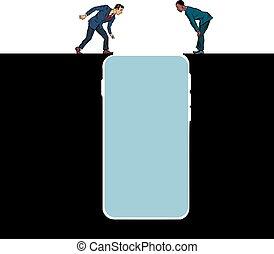 folk, internet, smartphone, addiction., precipice, udkant, indretning