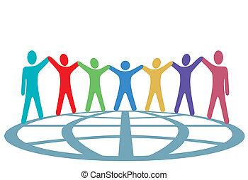 folk, klode, oppe, arme, farver, hænder, greb