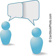 folk, kommunikation, dele, symboler, tale, bobler, samtalen