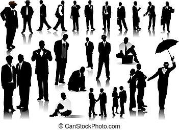 folk kontor, farve, silhouettes., æn, vektor, falde i hak, ændring