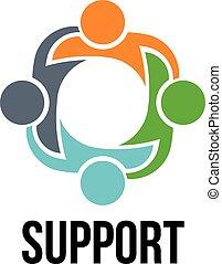 folk, logo, fire, gruppe, support.