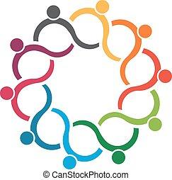 folk, logo., hold, gruppe, 10, bølge
