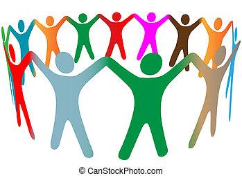 folk, mange, symbol, oppe, farver, miscellaneous, hænder, ring, greb, blanding