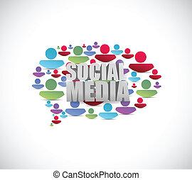 folk, medier, bubble., illustration, tale, sociale