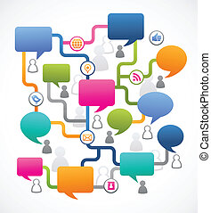 folk, medier, image, tale, sociale, bobler