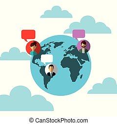 folk, medier, klode, tale, sociale, verden, bobler