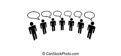 folk, medier, sociale, netværk, forbinde, blog, symbol