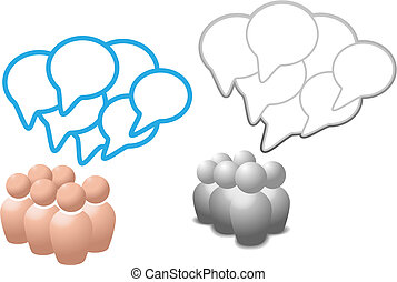 folk, medier, symbol, tale, sociale, bobler, samtalen