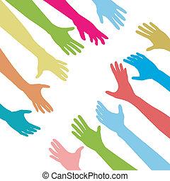 folk, nå, knytte sammen, forbinde, hænder, tværs, ydre