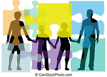 folk, opgave, problem, counseling, familie, løsning