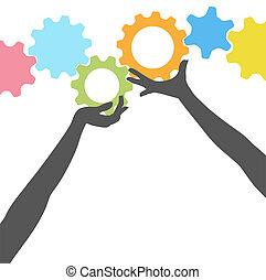 folk, oppe, det gears, hænder, greb, teknologi