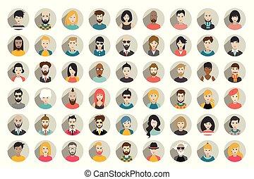 folk, personer, nationalitet, sæt, mega, hoveder, forskellige, vector., cirkel, style., lejlighed, avatars