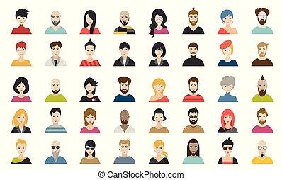 folk, personer, nationalitet, sæt, mega, hoveder, forskellige, vector., style., lejlighed, avatars
