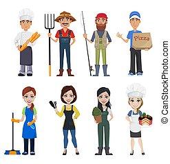 folk, professioner, forskellige
