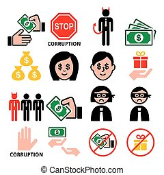 folk, sæt, forretningsmænd, iconerne, nej, bestikkelser, korruption, vektor, gaver, korrumper