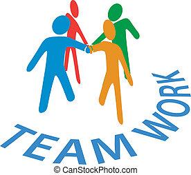 folk, samarbejde, sammenvokse, teamwork, hænder