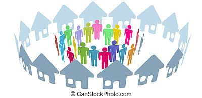 folk, sociale, nabo, gøre bekendtskab med, hjem, ring