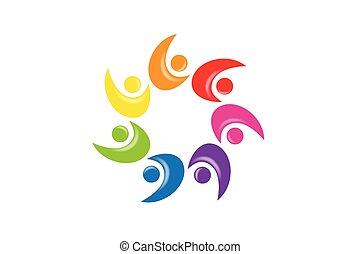 folk, teamwork, enhed, logo