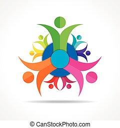 folk, teamwork, -, gruppe, begreb