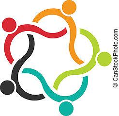 folk, teamwork, logo, 5, bølge
