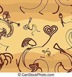 folk, tekstur, primitiv, silhuetter, seamless