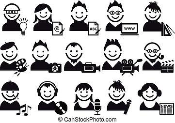 folk, vektor, kreative, iconerne